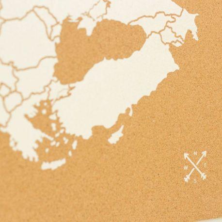 WOODY MAP L - EUROPE BLANC 60 CM X 45 CM