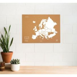 WOODY MAP XL - EUROPE BLANC 90 CM X 60 CM