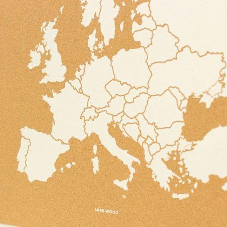 WOODY MAP XL - EUROPE BLANC 90 CM X 60 CM