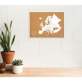 WOODY MAP L - EUROPE CADRE BLANC 63 CM X 48 CM