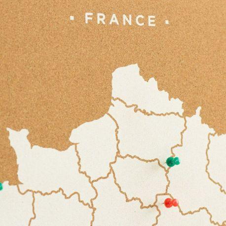 WOODY MAP XL - FRANCE BLANC 90 CM X 60 CM