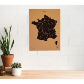 WOODY MAP XL - FRANCE NOIR 90 CM X 60 CM