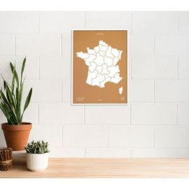 WOODY MAP L - FRANCE CADRE BLANC 63 CM X 48 CM