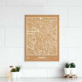 WOODY MAP VILLE L - PARIS - BLANC 60 CM X 45 CM