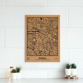 WOODY MAP VILLE L - PARIS - NOIR 60 CM X 45 CM