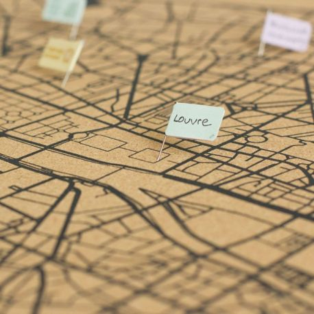 WOODY MAP VILLE L - PARIS - NOIR 60 CM X 45 CM