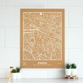 WOODY MAP VILLE XL - PARIS - BLANC 90 CM X 60 CM