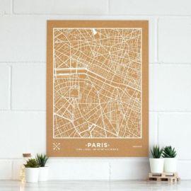 WOODY MAP VILLE XL - PARIS - BLANC 90 CM X 60 CM