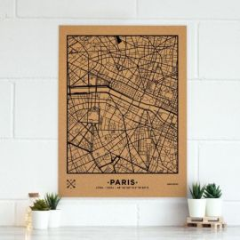 WOODY MAP VILL XL - PARIS - NOIR 90 CM X 60 CM