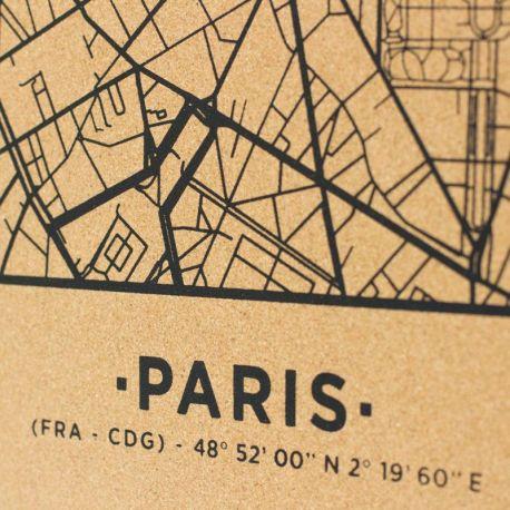 WOODY MAP VILL XL - PARIS - NOIR 90 CM X 60 CM