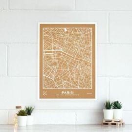 WOODY MAP VILLE L PARIS CADRE BLANC 63 CM X 48 CM