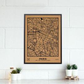 WOODY MAP VILLE L PARIS CADRE NOIR 63 CM X 48 CM