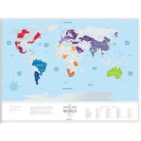 CARTE À GRATTER SILVER WORLD PLASTIQUE (60 X 80 CM)
